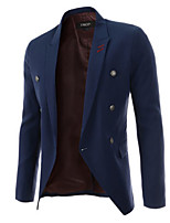 Men's Casual/Plus Sizes Pure Long Sleeve Regular Blazer (Cotton)