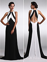 Formal Evening Dress - Black Sheath/Column Jewel Sweep/Brush Train Satin Chiffon