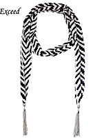 D Exceed  Women's Multifactional Cheap Scarf Two Colors Striped Shawls Chiffon Jewellery Scarf with Tassles