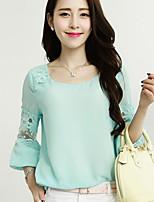Women's Blue/Pink/Green Blouse ½ Length Sleeve