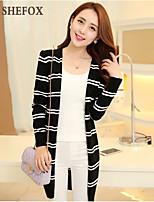 Women's Casual Medium Long Sleeve Long Trench Coat (Cotton/Knitwear)SF7F01
