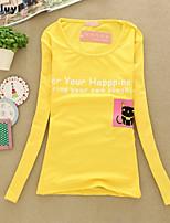 Women's Casual/Print Micro-elastic Long Sleeve Regular T-shirt (Cotton)