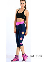 Women Cotton/Others Thin Shredded Candy Color Capris High Waist Stretched Leggings Sporting Casual Pants