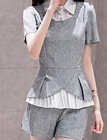Women's Casual/Party/Work/Plus Sizes Micro-elastic Short Sleeve Regular Shirt (Chiffon)