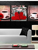 Prints Poster Coffee Cup Rose Flower Art Picture  Home Decorative  Pictures Print On Canvas  3pcs/set (Without Frame)