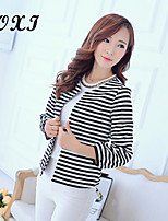 Women's Striped/Solid/Lace Pink/White/Multi-color Blazer , Sexy/Casual/Cute/Party/Work V Neck Long Sleeve