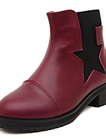 Women's Shoes  Chunky Heel Fashion Boots/Round Toe Boots Casual Black/Burgundy