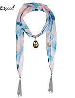 D Exceed New Fashion Drop-Shaped Pendant Jewelry Flower Print Chiffon Scarves for Women