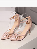 Women's Shoes Leather Kitten Heel Pointed Toe Sandals Dress/Casual Pink/White