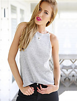 Women's Sexy Casual Cute Inelastic Thin Sleeveless Vest (Cotton Blends)