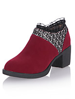 Women's Shoes Chunky Heel Bootie/Round Toe Boots Office & Career/Dress/Casual Black/Beige/Burgundy