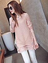 Women's Sweet All Match Lace Hem Long Sleeve Pullover