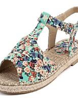 Women's Shoes Linen Flat Heel Peep Toe Sandals Casual Blue/Green/Pink