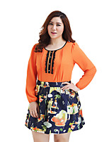 Prettyshow 2015 Autumn New Arrvial  Fashion Lady Big Size O-neck Full Sleeve Casual Chiffon Clothes QA3XC0038