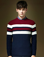 Men's Striped Pullover , Acrylic/Cotton/Polyester Long Sleeve