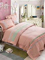 H&C 100% Cotton 800TC Duvet Cover Set 4-Piece Pink And Blue Solid Color Joint HZ2-013