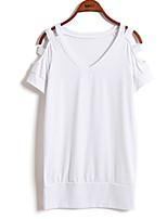 Women's Sexy Casual Cute Plus Sizes Micro Elastic Short Sleeve Regular T-shirt (Cotton)