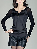 Women's V Neck Button Blouse , Mesh/Nylon Long Sleeve