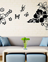 3D Wall Stickers Wall Decals Style Butterflies in The Flowers PVC Wall Stickers