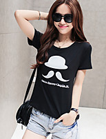 Women's Sexy Casual Print Cute Plus Sizes Micro Elastic Short Sleeve Regular T-shirt (Cotton)
