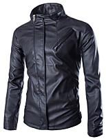 Men's Casual Long Sleeve Regular Jacket (PU)