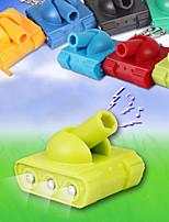 Mini Battle Tank Toy Keychain LED Flashlight with Sound (Random Color)