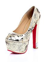 Women's Shoes Faux  Platform Heels/Round Toe/Closed Toe Pumps/Heels Wedding Black/Gold
