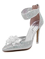 Women's Shoes Synthetic Stiletto Heel Comfort Pointed Toe Pumps Wedding and Party Silver