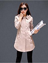 Women's Casual Long Sleeve Long Trench Coat (Cotton)