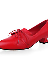 Women's Shoes Leather Chunky Heel Heels/Pointed Toe/Closed Toe Pumps/Heels Office & Career/Dress/Casual Black/Red