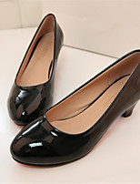 Women's Shoes Chunky Heel Round Toe Pumps/Heels Dress Black/Beige