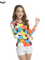 Women's Casual/Print Micro-elastic Long Sleeve Regular T-shirt (Cotton)