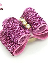 FUN OF PETS® Lovely Shinning Pattern Rhinestone Decorated  Rubber Band Hair Bow for Pet Dogs  (Random Color)