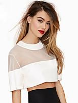 Women's Sexy Casual Cute Plus Sizes Inelastic Short Sleeve Short Shirt (Mesh)