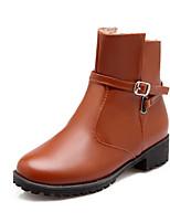 Zapatos de mujer - Tacón Robusto - Punta Redonda / Botas a la Moda - Botas - Vestido / Casual - Semicuero - Negro / Marrón / Amarillo