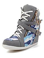 Zapatos de mujer - Tacón Cuña - Punta Redonda - Botas - Casual - Ante - Negro / Gris