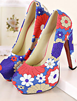 Women's Shoes Synthetic/ Stiletto Heel Heels/Platform/Pointed Toe/Round Toe Pumps/Heels Casual Blue/Green