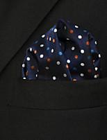 Men's Casual Dots Navy Blue Silk Pocket Square