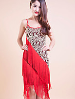 Latin Dance Dresses Women's/Children's Performance/Training Polyester Sequins/Tassel(s) 1 Piece Red