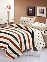 Coffee Color Strip Cotton Bedding Set of 4pcs Queen Size