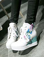 Chaussures Femme - Bureau & Travail / Habillé / Décontracté - Noir / Bleu / Blanc - Talon Compensé - Compensées - Bottes - Similicuir