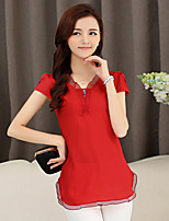 xiw&F Women's Casual/Plus Sizes Loose Embroidery Short Sleeve  Blouse (Chiffon)