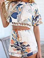 Women's Sexy Casual Print Cute Plus Sizes Inelastic Short Sleeve Short Suit (Chiffon)