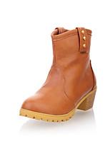 Zapatos de mujer Semicuero Tacón Robusto Punta Redonda/Botas a la Moda Botas Oficina y Trabajo/Vestido/Casual Negro/Amarillo/Beige