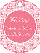 Personalized Circular Wedding Favor Tags - Pink Design (Set of 36)