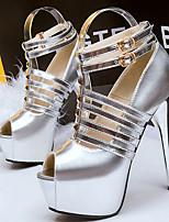 Women's Shoes Faux Leather Stiletto Heel Heels/Peep Toe Sandals Dress/Casual Black/Silver/Gold