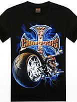 Men's 3D O-Neck Short-Sleeve Motorcycle Printing T-Shirt (Cotton)