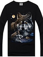 Men's 3D O-Neck Long-Sleeve Wolf Printing T-Shirt (Cotton)
