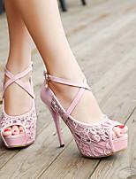 Women's Shoes Tulle Stiletto Heel Heels/Peep Toe Pumps/Heels Office & Career/Casual Black/Pink/White