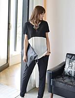 Women's Patchwork White/Black Blouse , Round Neck Short Sleeve